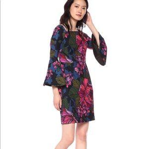 Trina Trina Turk Square Neck Bell Sleeve Dress,NWT